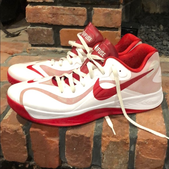 Mens Hyperfuse Red White Sneakers Size